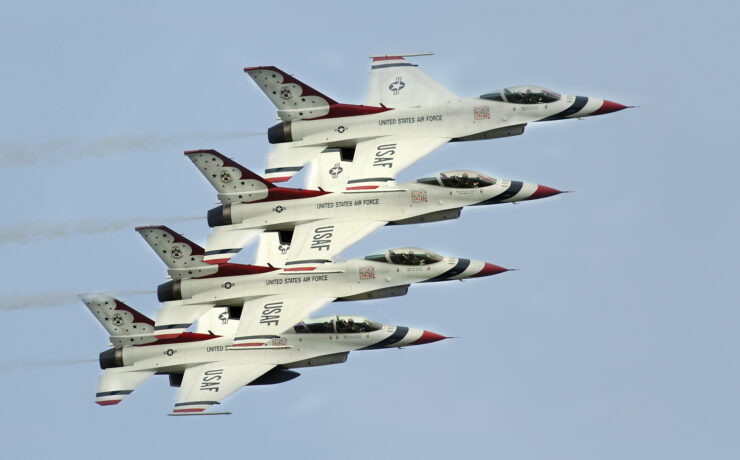 ELITE MANEUVERS The United States Air Force Thunderbirds fly in formation above he Bell Fort Worth Alliance Air Show | Photo Courtesy the Bell Fort Worth Alliance Air Show